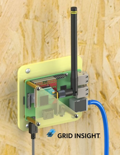 Grid Insight AMR gateway mounted to wall